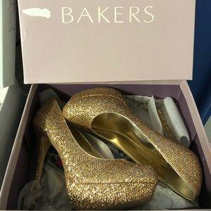 Baker gold high heels